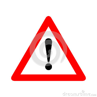 Red triangle caution warning alert sign vector illustration, isolated on white background. Be careful, do not, stop