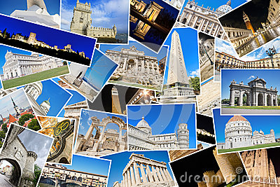 stock image of a collage of my best travel photos of famous landmarks from european cities