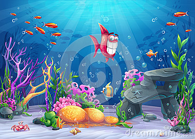 Undersea with funny fish