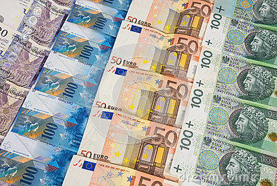 GBP EURO PLN and CHF banknotes