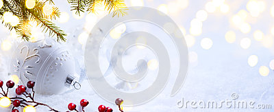 Bright Christmas; Holidays background with Xmas ornament