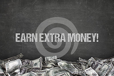 Earn extra money text on black background