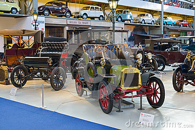 BRUSSELS, BELGIUM - DECEMBER 05 2016 - Autoworld Museum, old cars collection showing the history of automobiles from the beginning