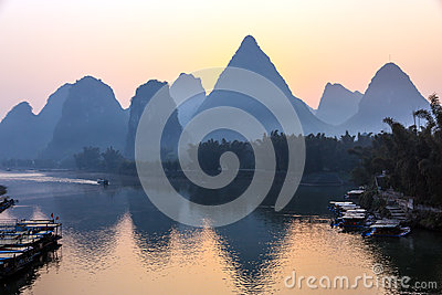 Mountains and River Sunrise View at Guilin City in China