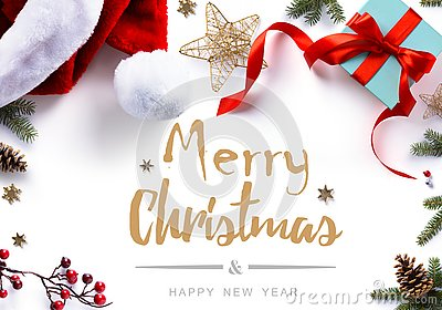Christmas gift, decorations and holidays sweet on white background