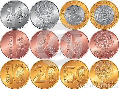 Set obverse and reverse new Belarusian Money coins