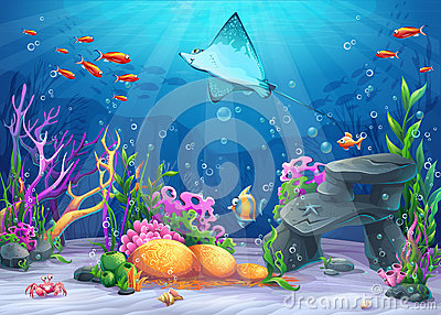 Vector cartoon illustration undersea