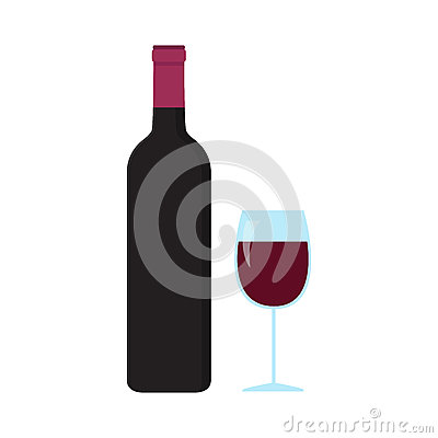 A bottle and glass of wine
