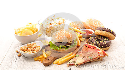 stock image of assorted junk food