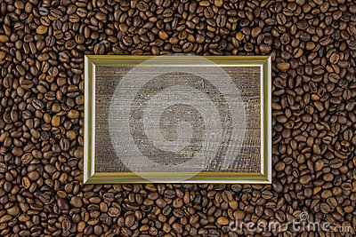 Frame coffee bean with pictures beautiful background view from side wooden table. The concept