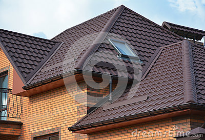 Roofing construction with attic skylights, rain gutter system and roof protection from snow. Hip and Valley roofing types.