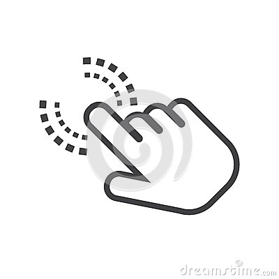 Click hand icon. Cursor finger sign flat vector.