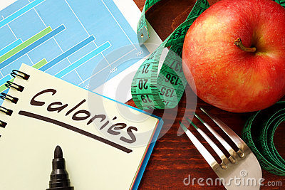 Calories written in a diary.