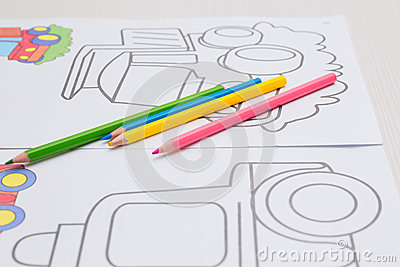 Coloring with crayons for baby