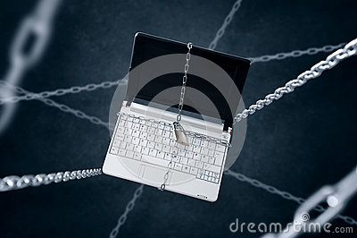 Chained laptop.