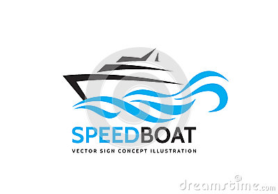 Abstract speed boat and blue sea waves - vector business logo template concept illustration. Ocean ship graphic creative sign.