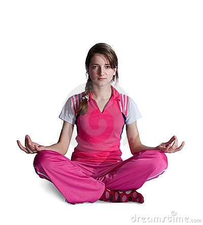 Girl in pink activewear doing yoga