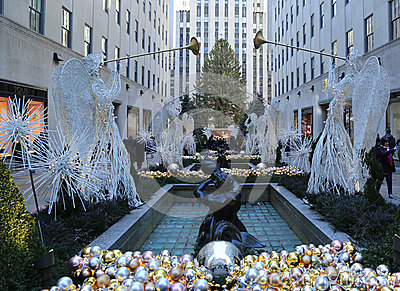 Angel Christmas Decorations and Christmas Tree at the Rockefeller Center in Midtown Manhattan