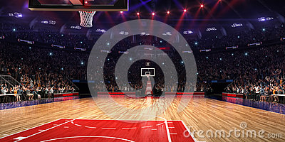 Basketball court with people fan. Sport arena. Photoreal 3d render background. blured in long shot distancelike leans optical,