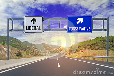 Two options Liberal and Conservative on road signs on highway