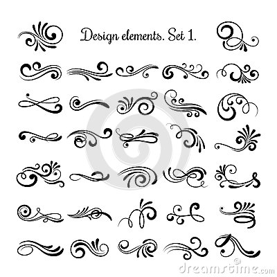 Swirly line curl patterns  on white background. Vector flourish vintage embellishments for greeting cards