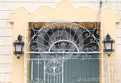 Vintage Spanish colonial doors and windows in Camaguey, Cuba. Unesco World Heritage Site
