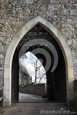 Entrance gate to Oybin castle and monastery
