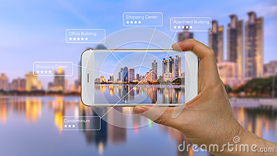 Augmented Reality or AR App on Smart Device Screen