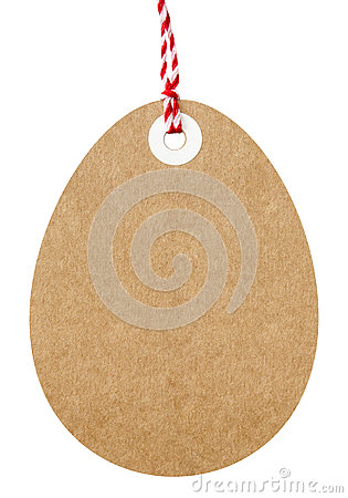 Gift Tag Easter Egg Shaped With String