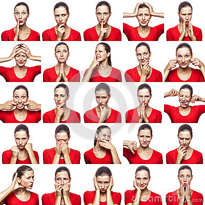 stock image of mosaic of woman with freckles expressing different emotions expressions. the woman with red t-shirt with 16 different emotions. is