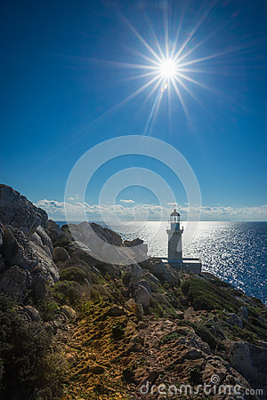 Modern lighthouse at the most southern point of greek mainland