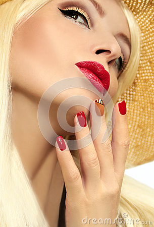 Red straw nail design.