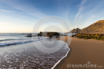 View of the Amoreira Beach in the Costa Vincentina in Alentejo, Portugal