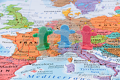 Map of the Western Europe, European union stability concept