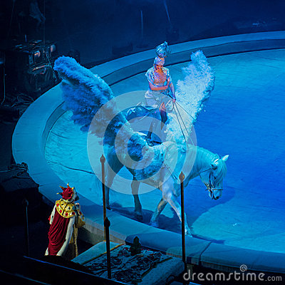 Saint-Petersburg, Russia - January 8, 2017: Circus performance -Prophetic Dream- - a fragment of view.