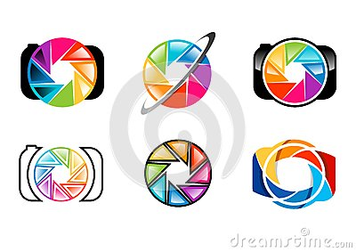 camera, logo, lens, aperture, shutters, rainbow, colorize, set of photography logo concept symbol icon vector design