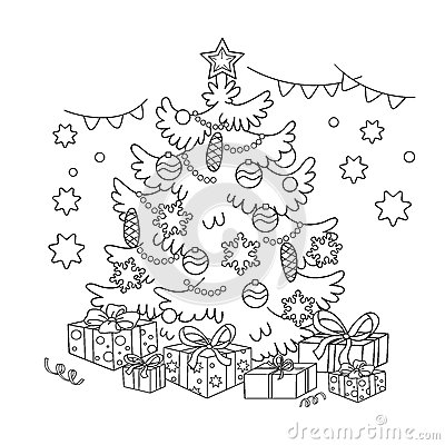 Coloring Page Outline Of cartoon Christmas tree with ornaments and gifts. Christmas. New year