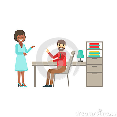 Man And Woman Colleagues Chatting , Coworking In Informal Atmosphere In Modern Design Office Infographic Illustration