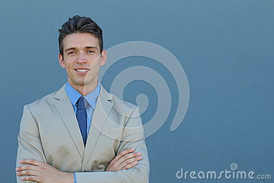 Close up picture of a handsome young elegant business man smiling to the camera