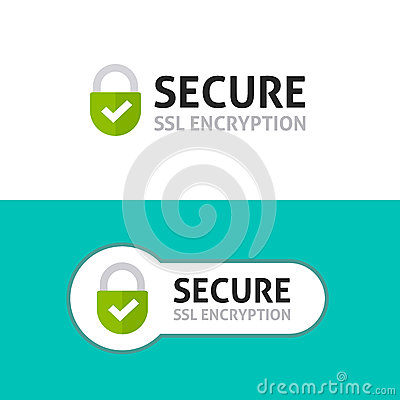 Secure connection icon, secured ssl protected safe data encryption