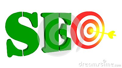 SEO with target and arrow in the bulleye, 3D illustration