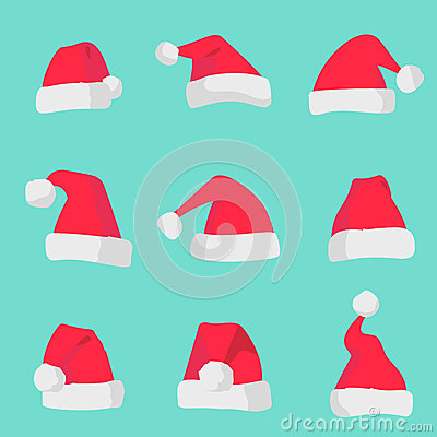 Red Santa Claus hats isolated on colorful background. Symbol of Christmas holiday santa hat set.