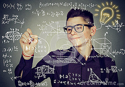 Guy writing high school maths and science formulas