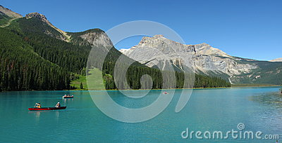 Canoes on Emerald Lake, Yoho National Park, British Columbia