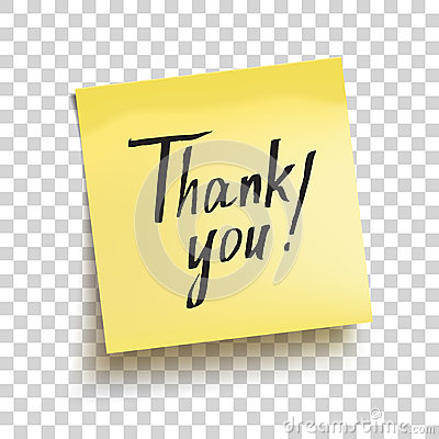 Yellow sticky note with text `Thank you!`. Vector