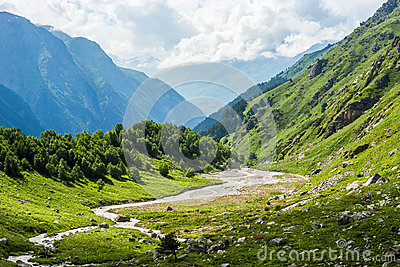 Green mountain valley in summer russian Caucasus mountains