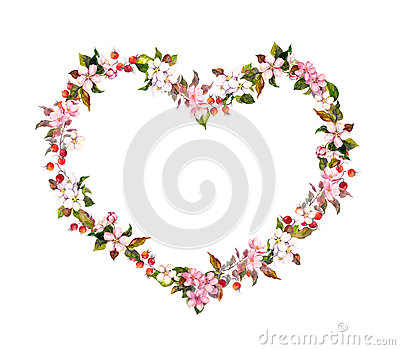 Floral border - heart shape, spring flowers. Watercolor for Valentine day, wedding