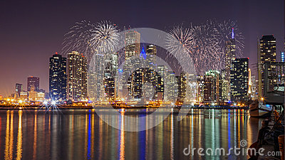 Chicago Skyline on Lake Michigan with Fireworks at Night