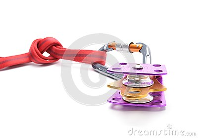 Climbing equipment - pulley, rope, carabiner isolated on white background