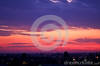 Purple sunset over Bucharest city